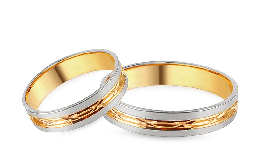 Snubní kombinované prstýnky s gravírovaným vzorem, šířka 4 mm IZOB137YW