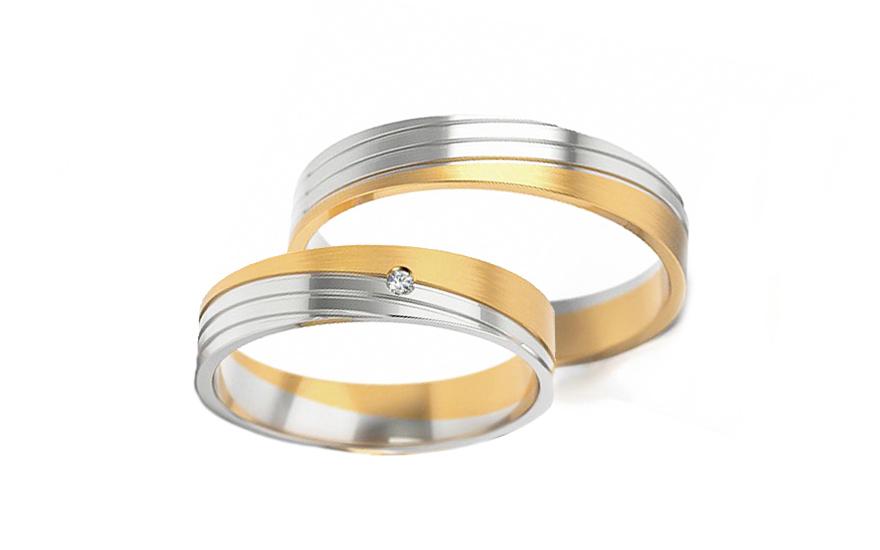 Snubní kombinované prstýnky s kamínkem šířka 4,5 mm STOB299