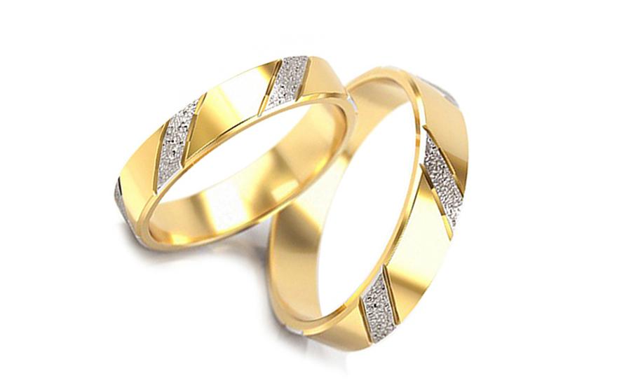 Svatební obroučky dvoubarevné šířka 3 mm STOB005-3