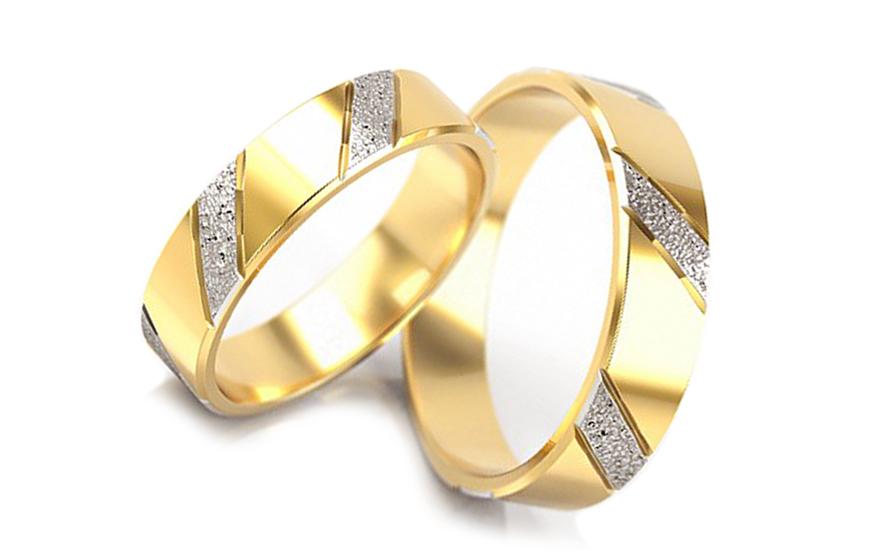 Svatební obroučky dvoubarevné šířka 5 mm STOB005-5