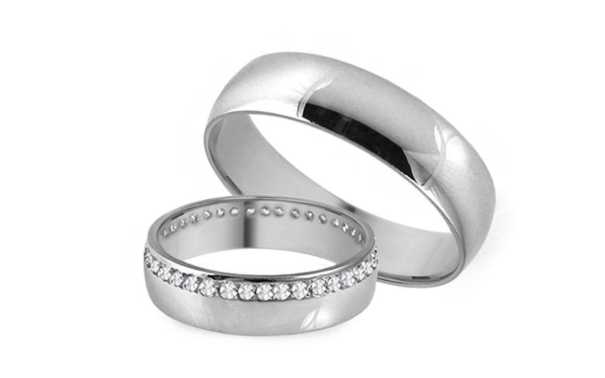 Snubní prsteny bílé se zirkony šířka 5 mm IZOB006