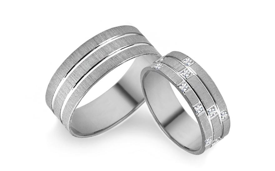 Snubní prsteny bílé se zirkony šířka 6 mm IZOB003