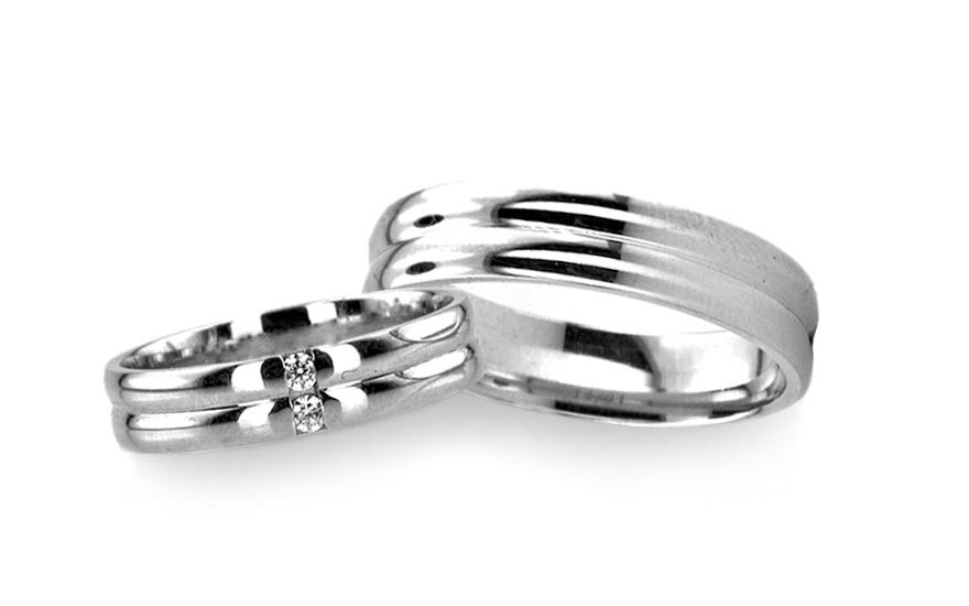 Snubní prsteny bílé zlato šířka 4 mm RYOB012
