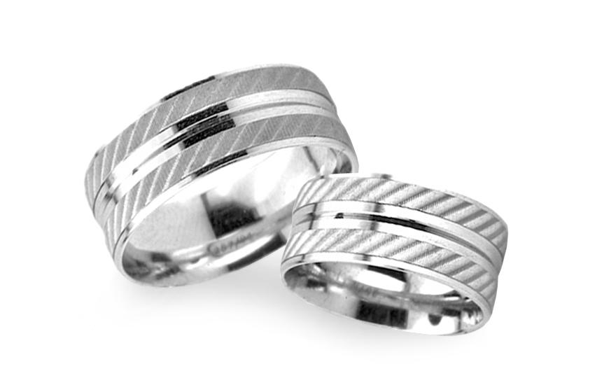Snubní prsteny bílé zlato šířka 6 mm RYOB230