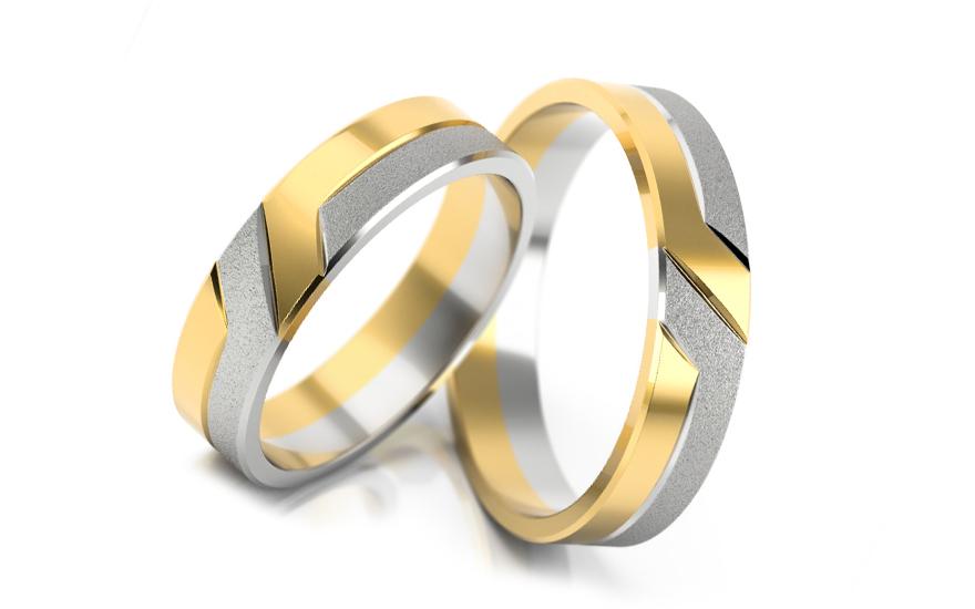 Svatební obroučky dvoubarevné šířka 4 mm STOB055-4