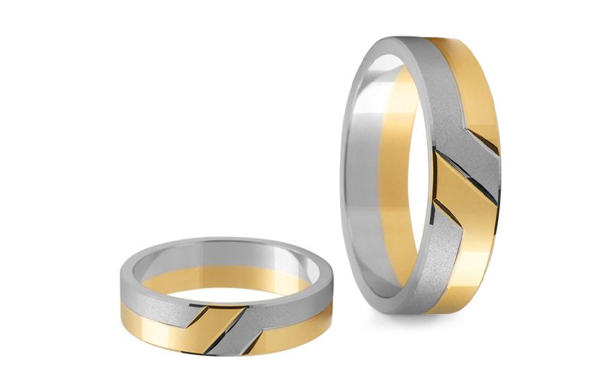 Svatební obroučky dvoubarevné šířka 5 mm STOB055