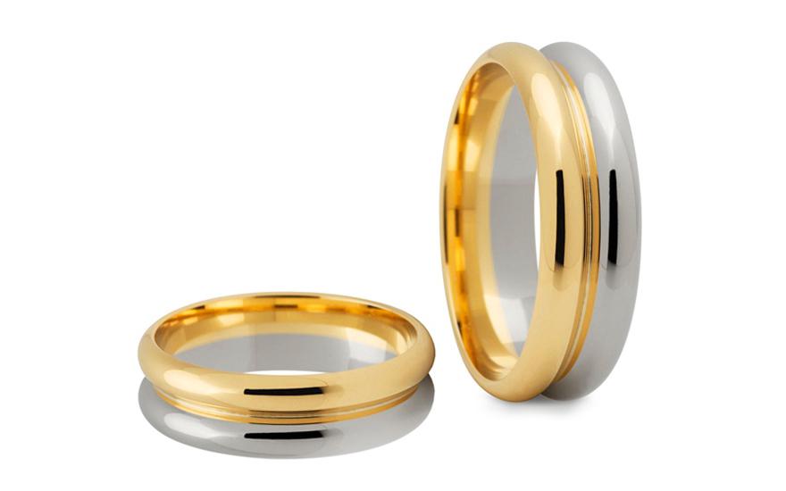Svatební obroučky dvoubarevné zlaté šířka 6 mm STOB188