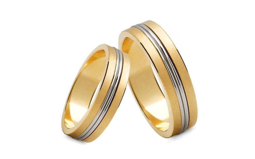 Snubní prsteny dvoubarevné zlato šířka 4 mm STOB148-4