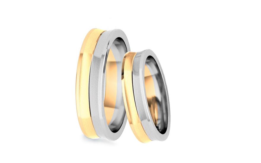 Snubní prsteny dvoubarevné zlato šířka 4 mm STOB169-4