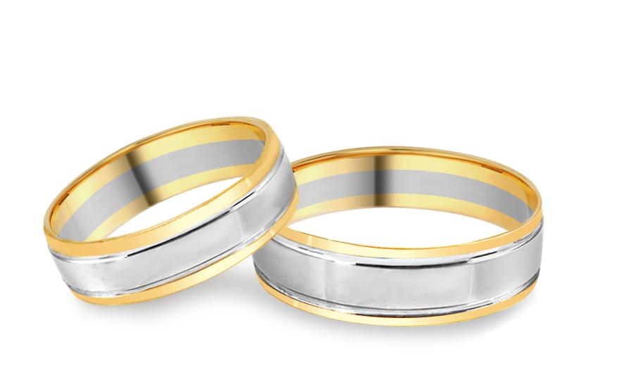 Snubní prsteny kombinované šířka 5 mm IZOB009