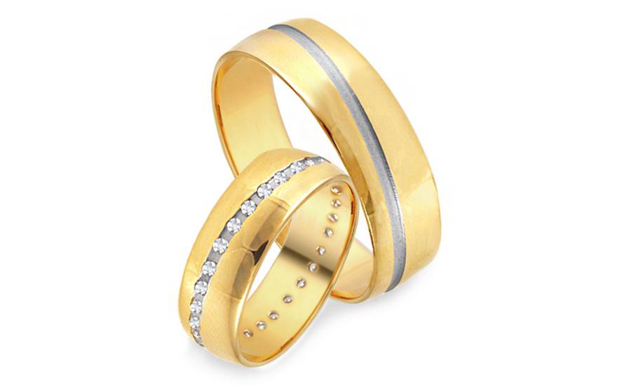 Snubní prsteny žluté se zirkony šířka 6 mm IZOB010