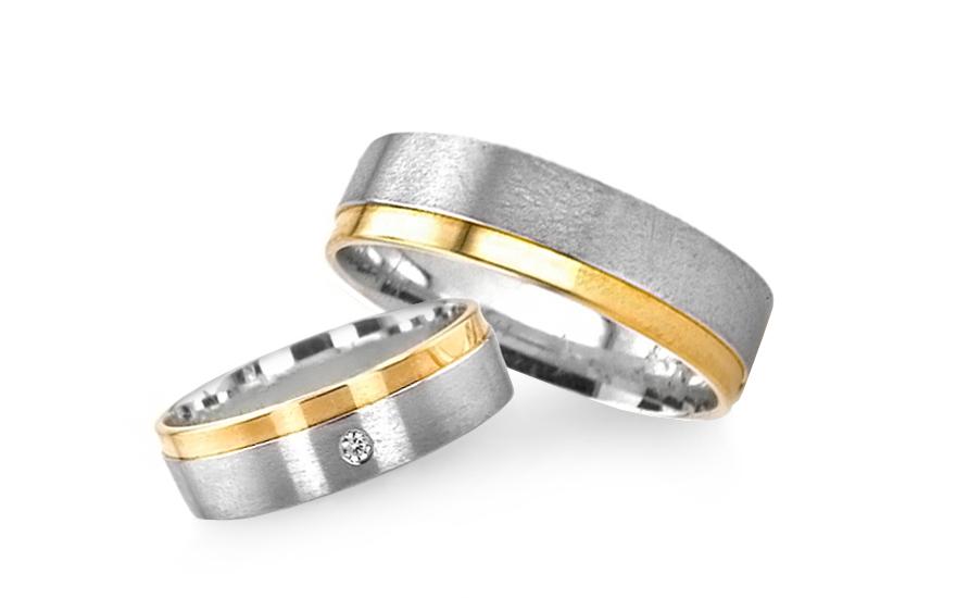Snubní prsteny kombinované zlato šířka 5 mm RYOB151
