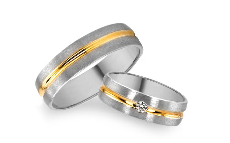 Snubní prsteny kombinované zlato šířka 5 mm RYOB027