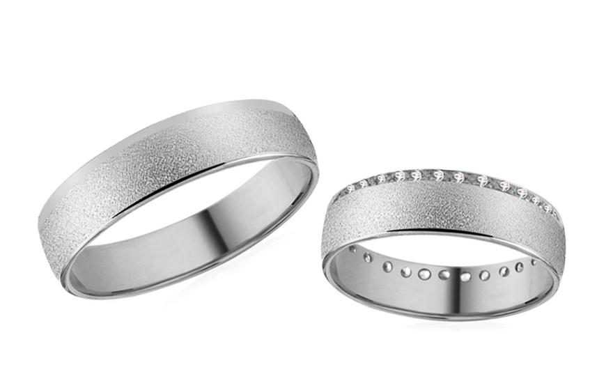 Snubní prsteny oblázkové z bílého zlata RYOB258