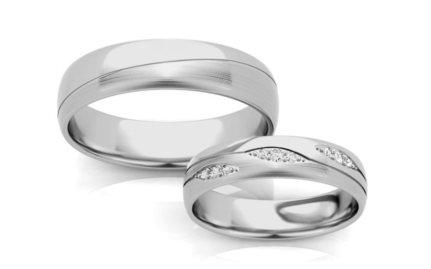 Svatební obroučky s kamínky šířka 5 mm STOB287A