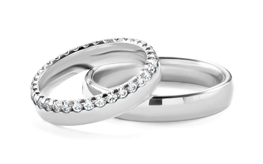 Snubní prsteny s kamínky šíře 4,5 mm STOB289