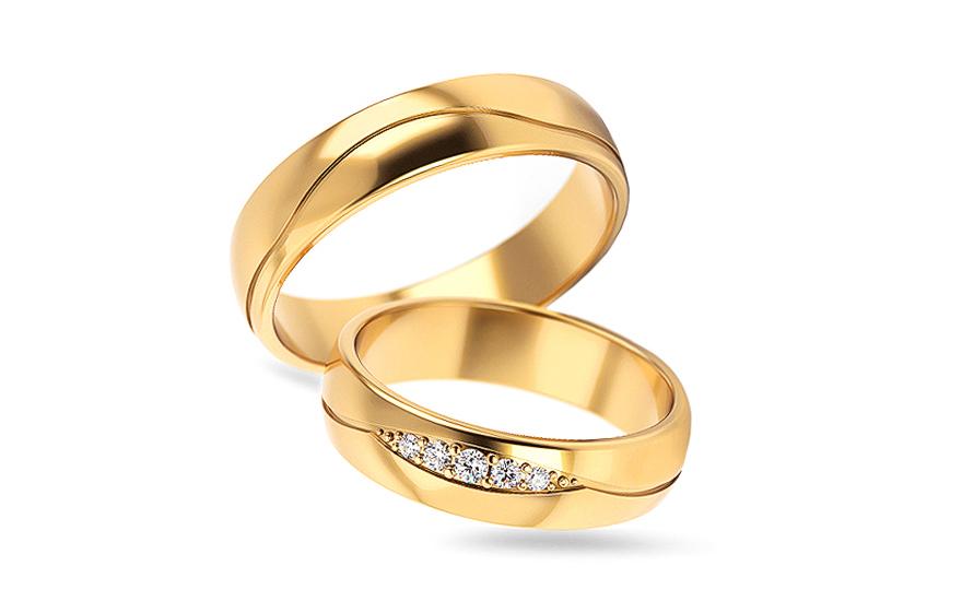 Snubní prsteny se zirkony šířka 5 mm STOB296
