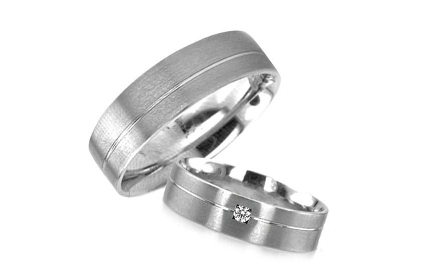 Snubní prsteny v bílém zlatě s kamínkem RYOB019