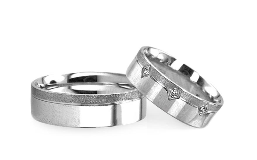 Snubní prsteny v bílém zlatě s kamínky RYOB109