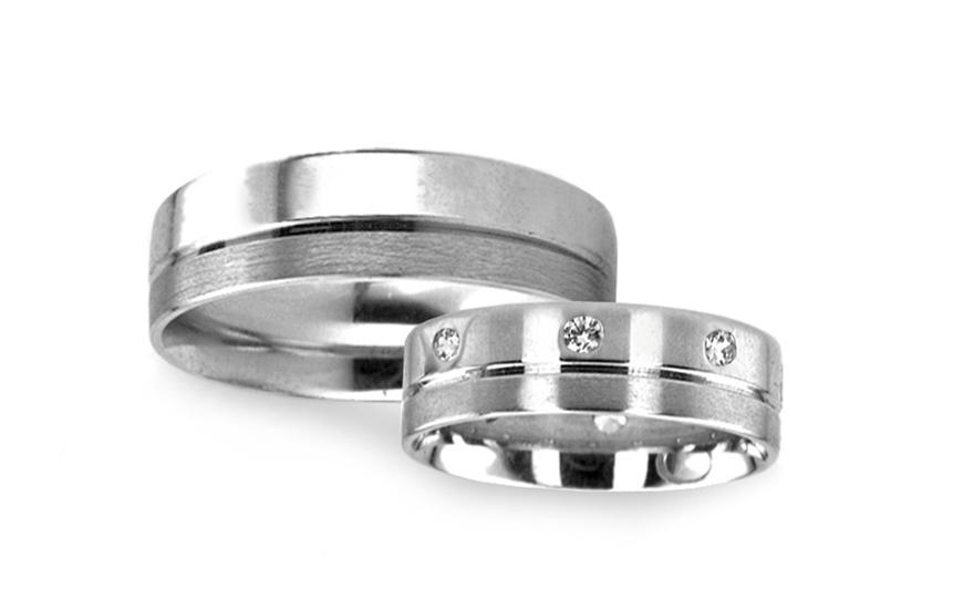 Snubní prsteny v bílém zlatě s kamínky RYOB045