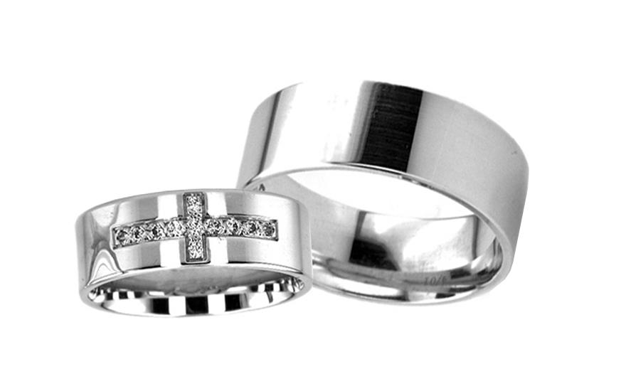 Snubní prsteny z bílého zlata klasické s křížkem RYOB004