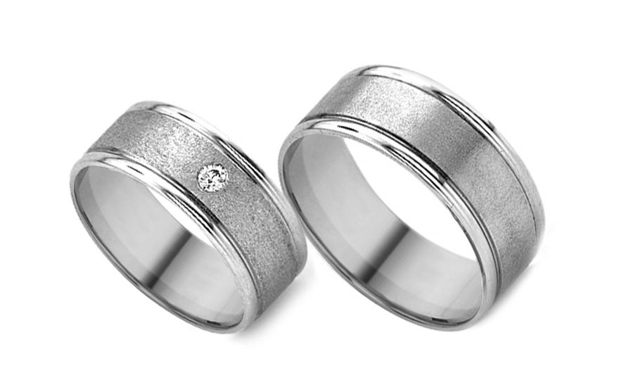 Snubní prsteny z bílého zlata se zirkonem RYOB033