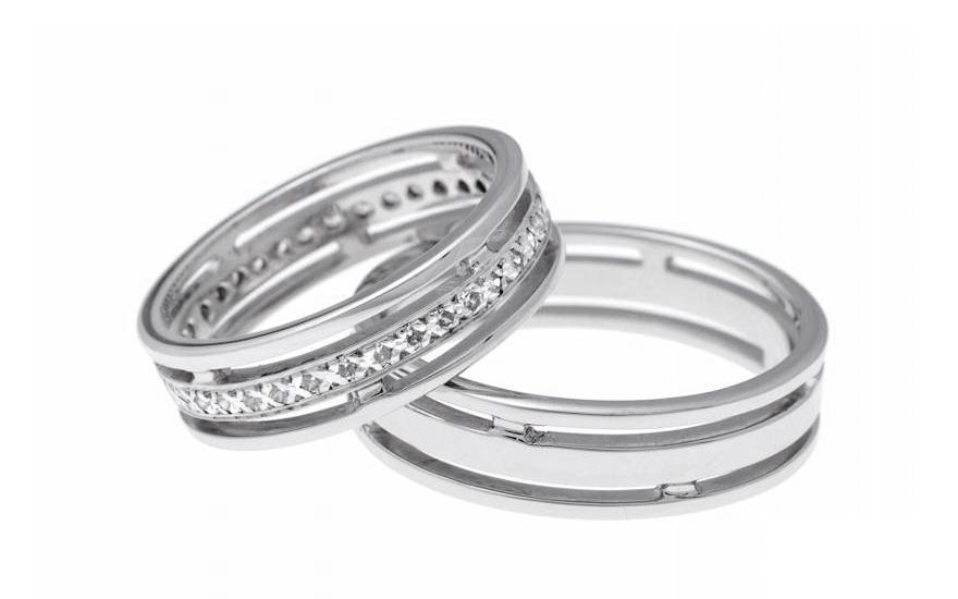 Snubní prsteny z bílého zlata se zirkony RYOB123