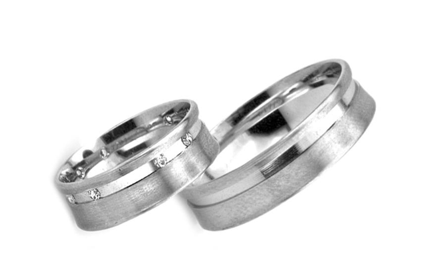 Snubní prsteny z bílého zlata se zirkony RYOB190