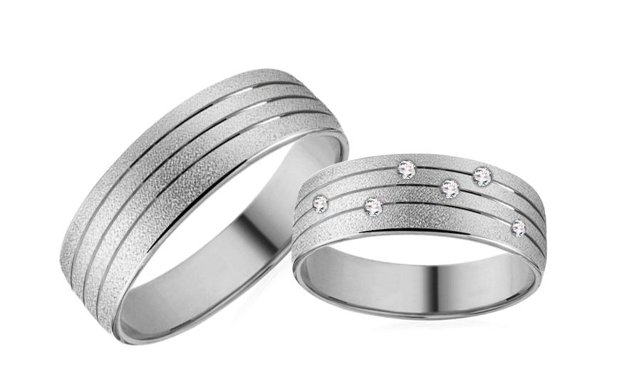 Snubní prsteny z bílého zlata se zirkony RYOB177