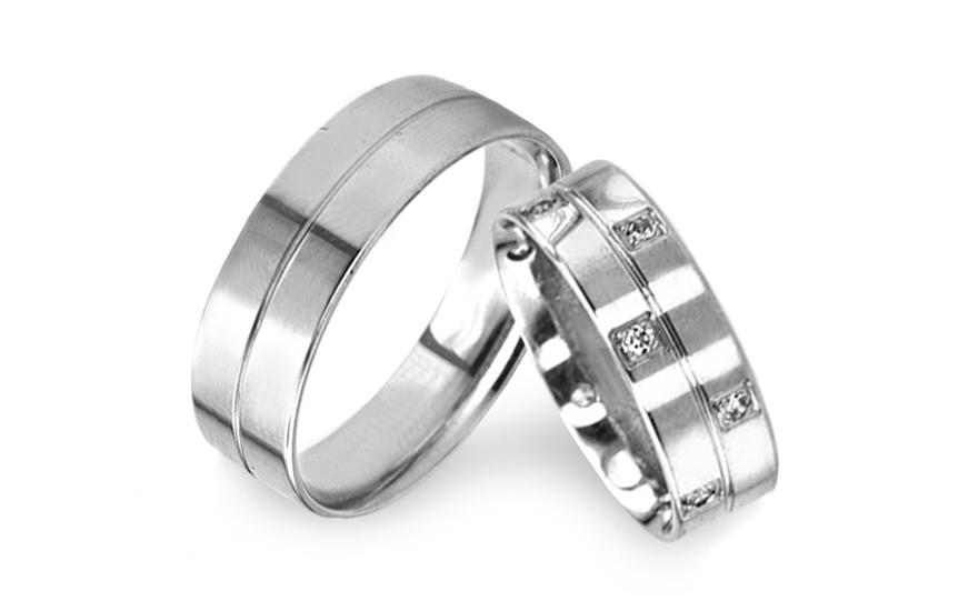 Snubní prsteny z bílého zlata se zirkony RYOB119