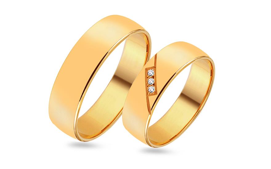 Snubní prsteny ze žlutého zlata s kamínky RYOB079