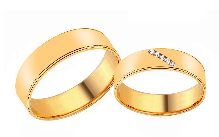 Snubní prsteny ze žlutého zlata se zirkony RYOB207