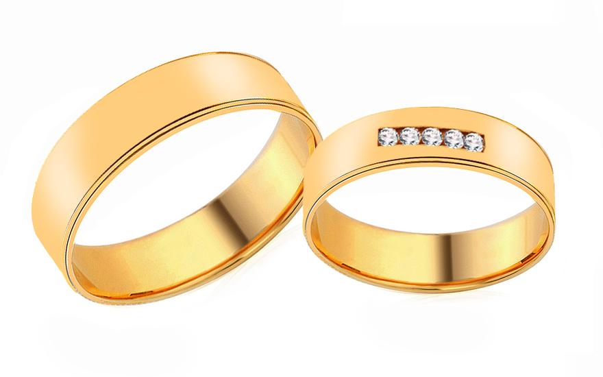Snubní prsteny ze žlutého zlata se zirkony RYOB204