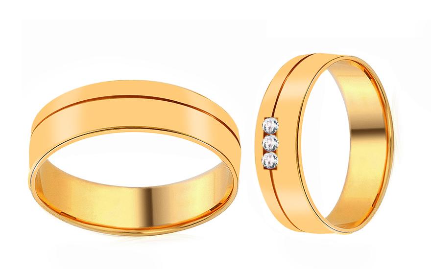 Snubní prsteny ze žlutého zlata se zirkony RYOB194