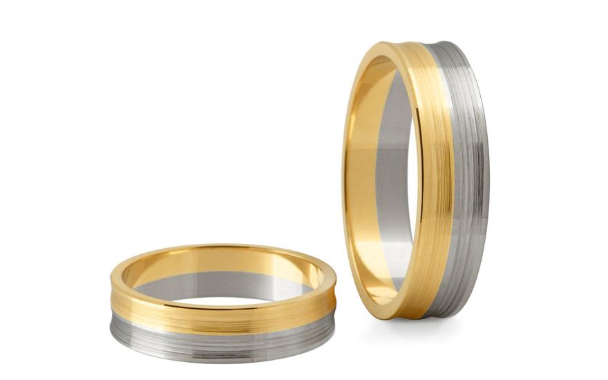 Svatební obroučky dvoubarevné šířka 6 mm STOB170