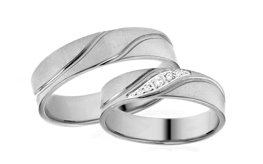 Snubní prstýnky bílé s kamínky šířka 5 mm IZOB678A