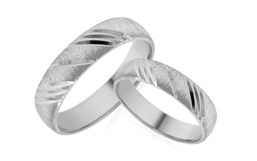 Snubní prstýnky bílé s matováním šířka 5 mm IZOB463A