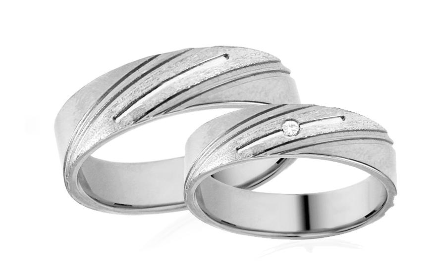 Snubní prstýnky bílé se zirkony šířka 5 mm IZOB529A