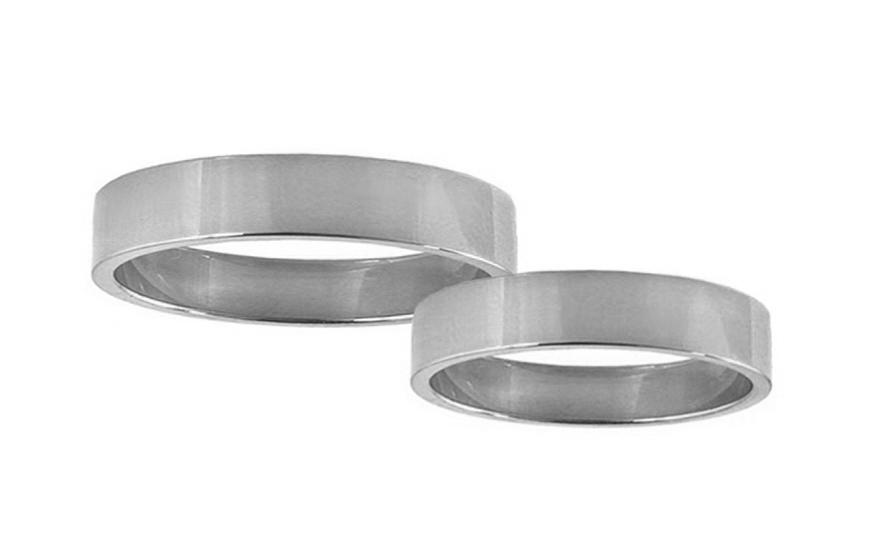 Snubní prstýnky bílé zlato šířka 4 mm STOB10001-4A