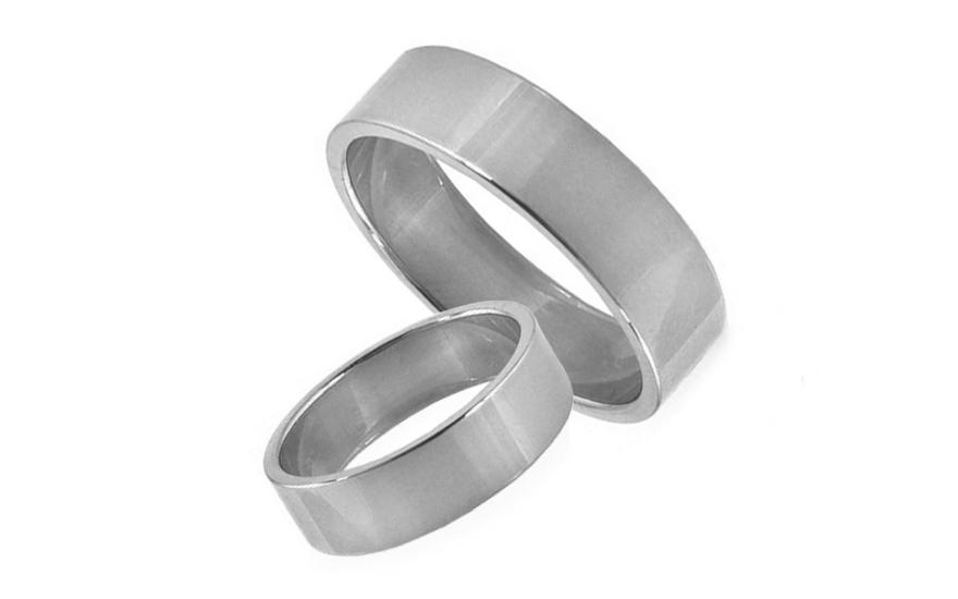 Snubní prstýnky bílé zlato šířka 5 mm STOB10001A
