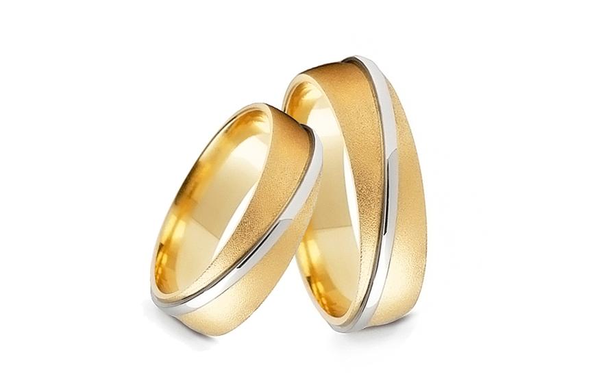 Snubní prstýnky dvoubarevné matované zlato šířka 4 mm STOB104-4