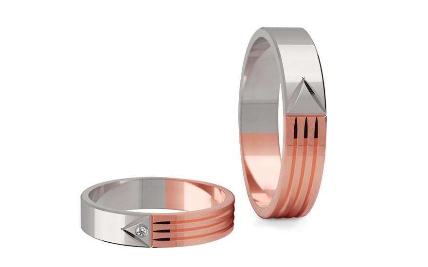 Snubní prstýnky dvoubarevné s kamínkem šířka 5 mm STOB043-5R