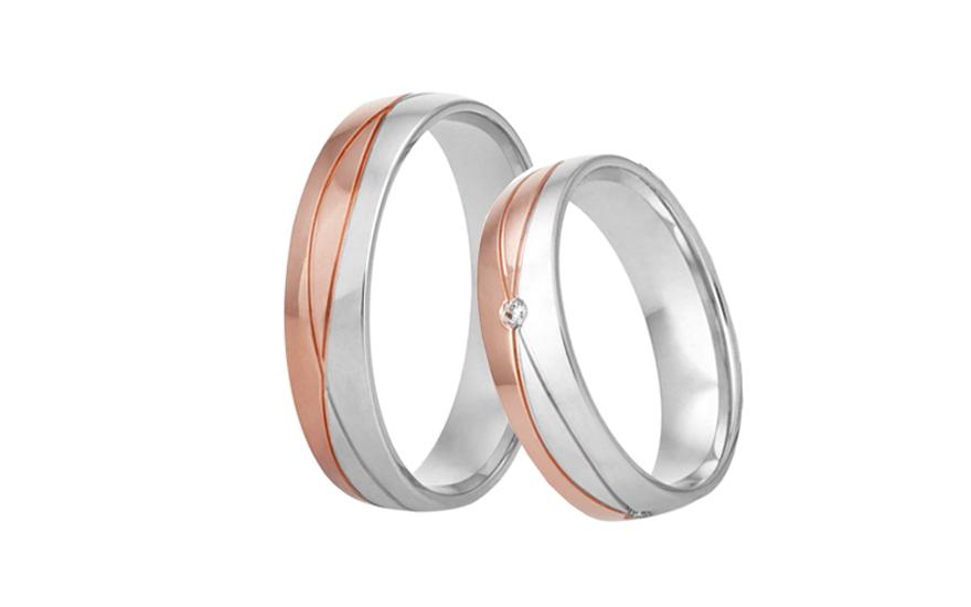 Snubní prstýnky dvoubarevné se zirkonem RYOB306