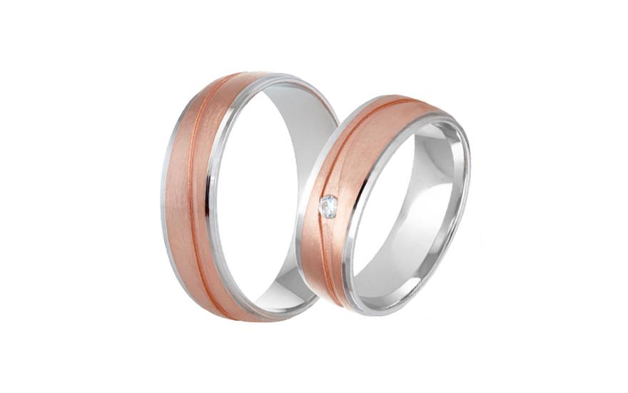 Snubní prstýnky dvoubarevné se zirkonem RYOB319