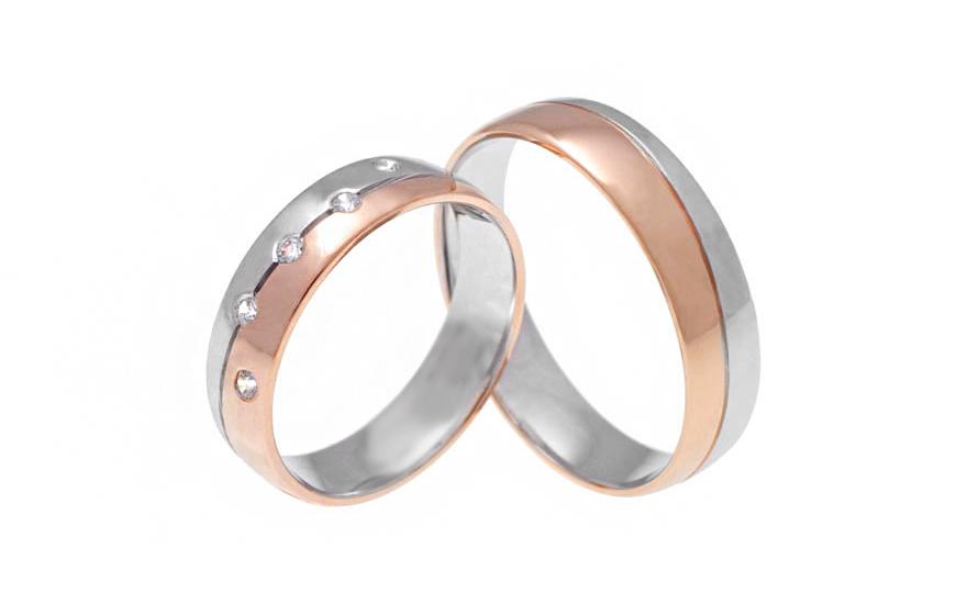 Snubní prstýnky dvoubarevné se zirkony RYOB289