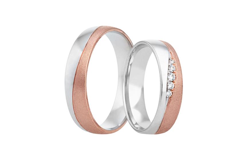 Snubní prstýnky dvoubarevné se zirkony RYOB317