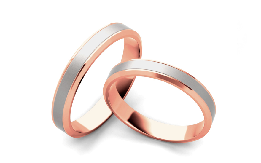 Snubní prstýnky dvoubarevné šířka 3 mm STOB060-3R