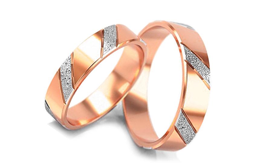 Snubní prstýnky dvoubarevné šířka 4,5 mm STOB005-4R