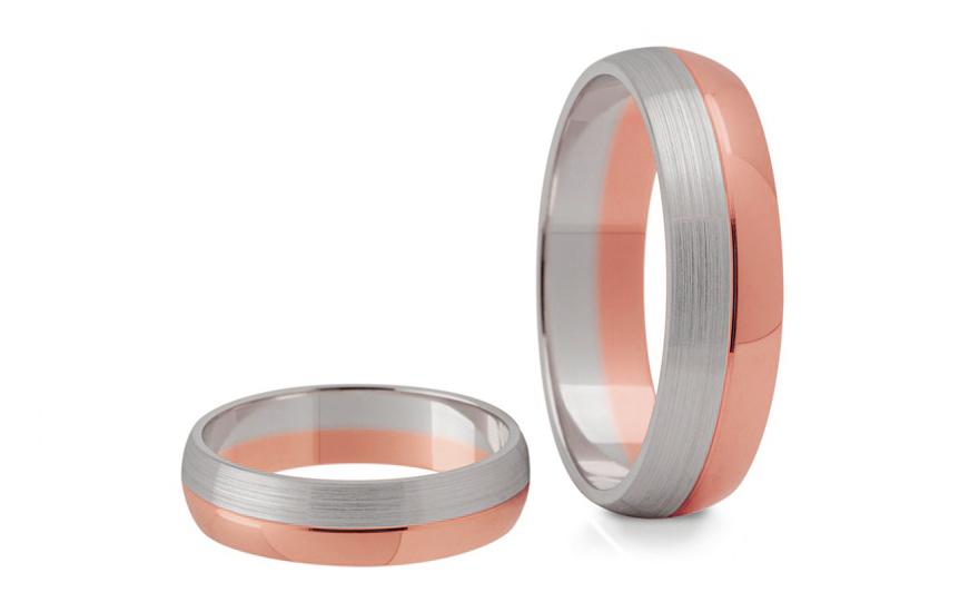 Snubní prstýnky dvoubarevné šířka 5 mm STOB120R