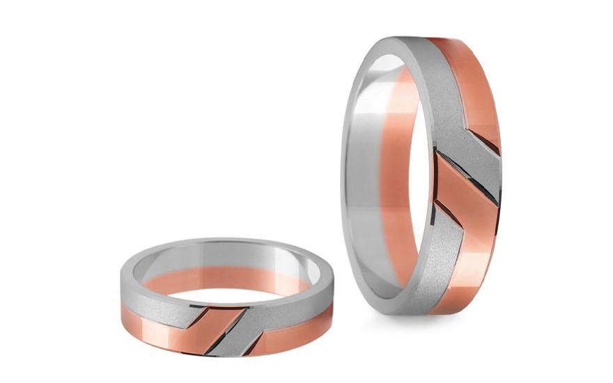 Snubní prstýnky dvoubarevné šířka 5 mm STOB055R